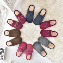 Plus Size 37-55 In 2 Style Nice Winter New Women Slippers Indoor Bowtie Shoes Woman Flat Heels College Girls Cute Flip Flops(China)