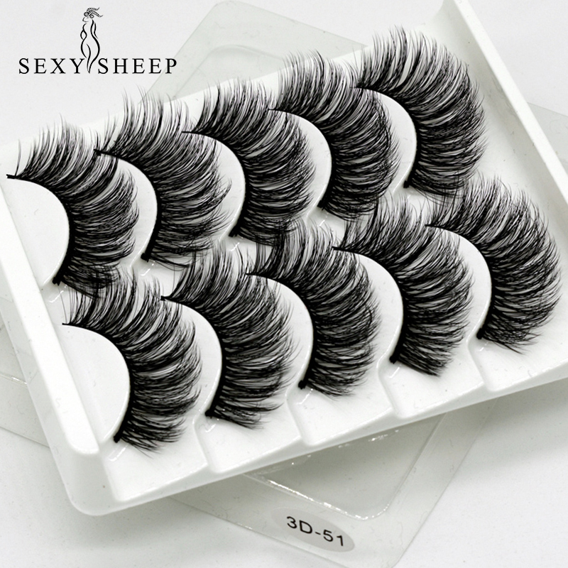 SEXYSHEEP 5Pairs 3D Faux Mink eyelashes False Eyelashes Long Lashes Wispy Makeup Beauty Extension Tools Wimpers 13 Styles-in False Eyelashes from Beauty & Health