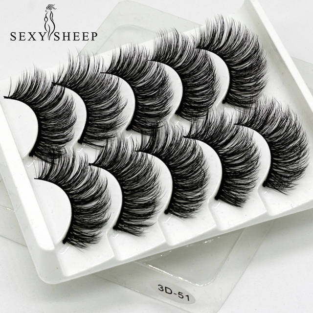 SEXYSHEEP 5Pairs 3D Faux Mink eyelashes False Eyelashes Long Lashes Wispy Makeup Beauty Extension Tools Wimpers 13 Styles