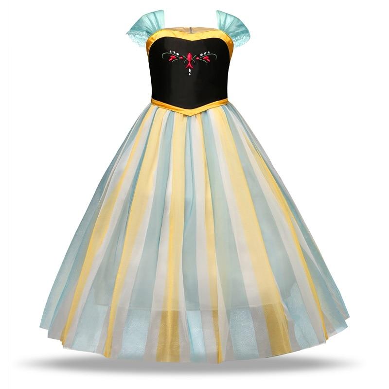 He7f7ac1752ec4981ba37e603ec299a13H Girls Elsa Dress Costume Princess Anna Dresses Cosplay Party Summer Baby Kids Children Fancy Baby Girl Clothes elza vestidos