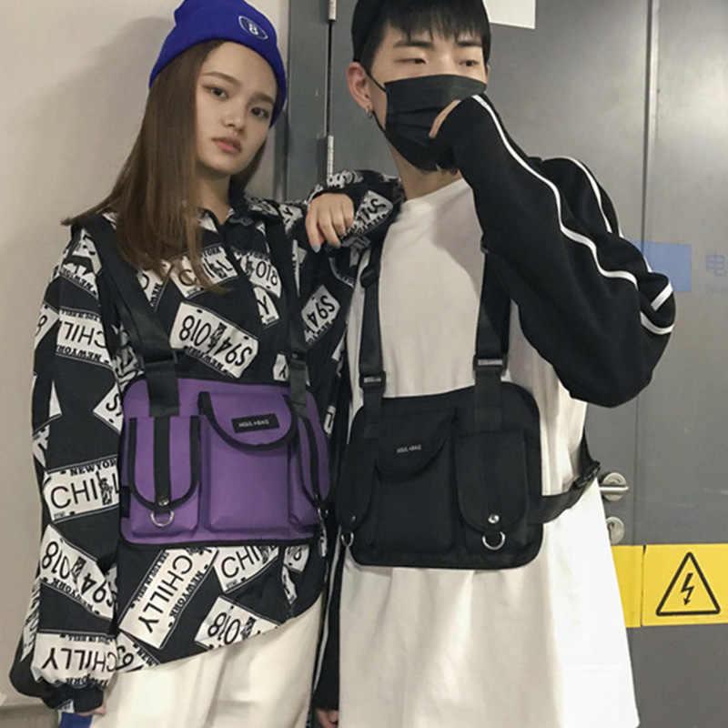 ผู้หญิงใหม่เข็มขัดยุทธวิธีกระเป๋าทรวงอกกระเป๋า Hip Hop Streetwear ผู้ชายเอวแพ็คปรับกระเป๋าเสื้อกั๊ก Kanye West