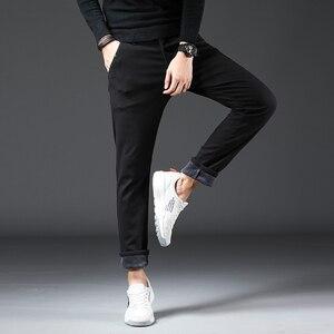 Image 4 - 2019 חורף חדש גברים של Slim חם מכנסי קזואל עסקי אופנה קלאסי סגנון כותנה למתוח הדוק לעבות מכנסיים זכר מותג