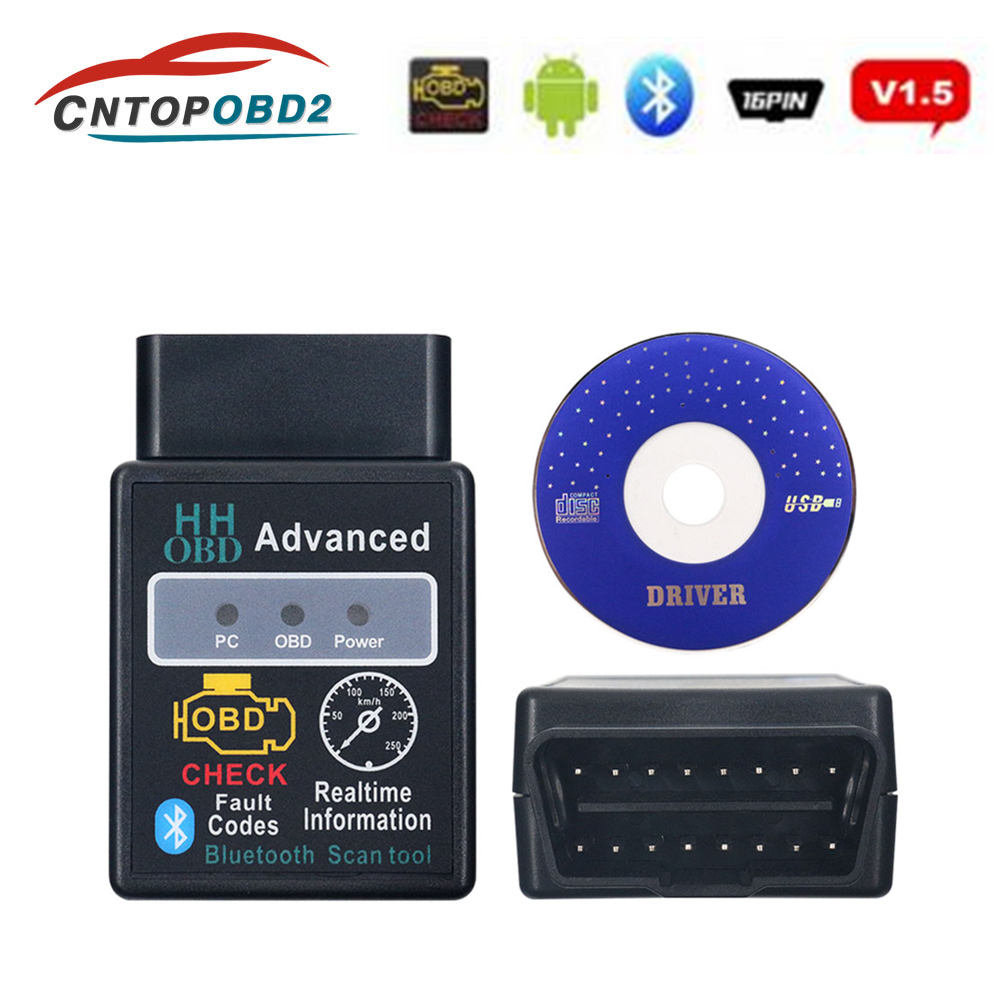 OBD2 Scanner ELM327 1.5 HH OBD Diagnostic Scanner ELM 327 V1.5 Bluetooth OBDII Auto Code Reader Support All OBD2 OBD 2 Protocols