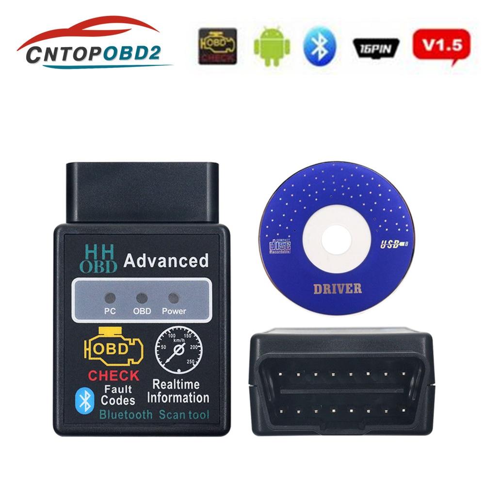 OBD2 Scanner ELM327 1.5 HH OBD Diagnostic Scanner ELM 327 V1.5 Bluetooth OBDII Auto Code Reader Support All OBD2 OBD 2 Protocols