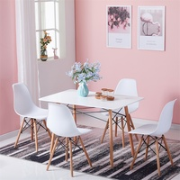EGGREE Dining Table and Chair Set of 4 Minimalist Modern Design Dining Furniture Wooden Table and Plastic Chairs with Metal Legs