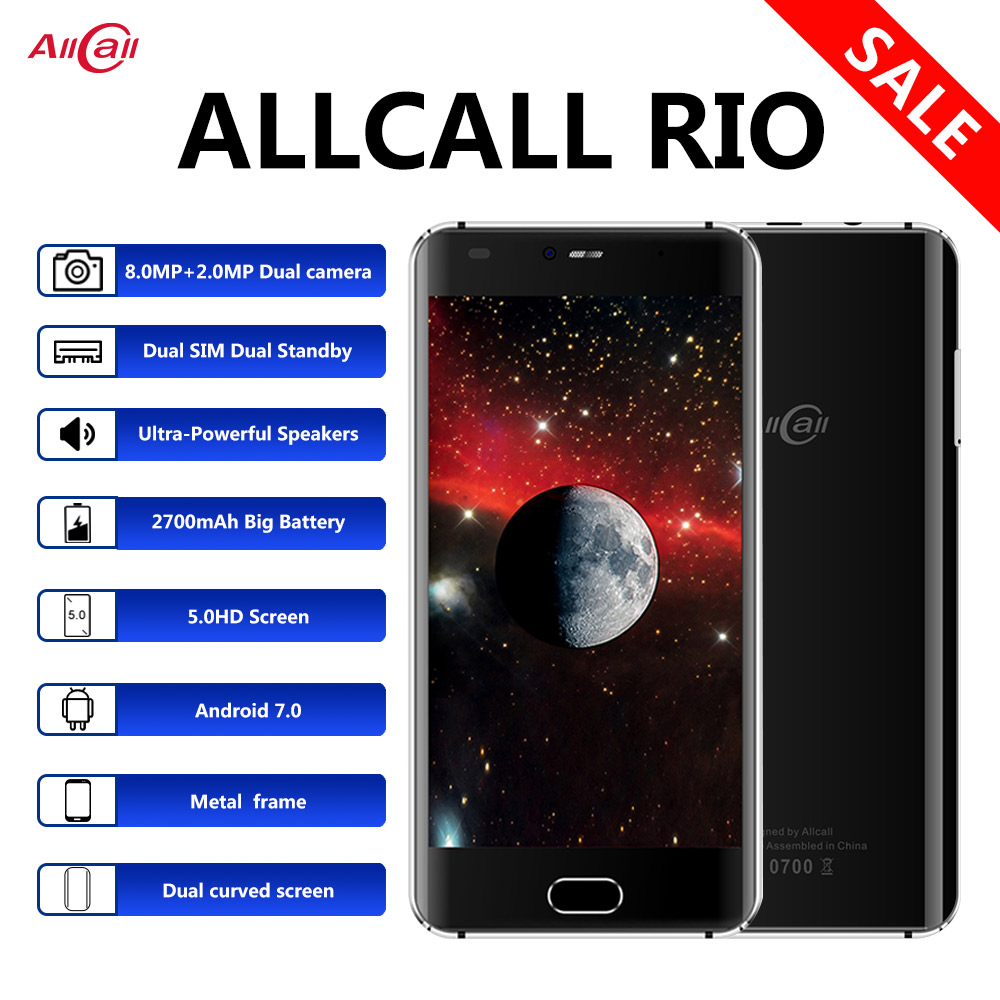 Allcall RIO Dual Back Cam 3G 5.0 Inch Mobile Phone IPS HD 1GB RAM 16GB ROM 8MP Camera MTK6580A Quad-Core Android 7.0 Smart Phone