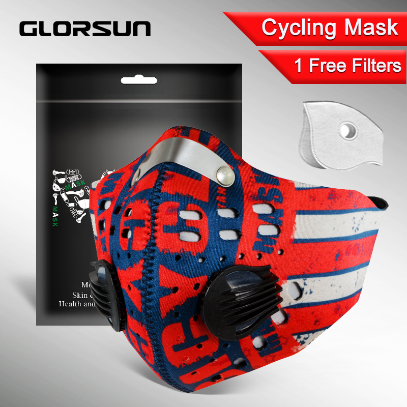 GLORSUN Pollution Mask Custom Neoprene  Anti Pm2.5 Motorcycle Bike Cycling Black Washable Mouth Sport Training Face Dust Mask
