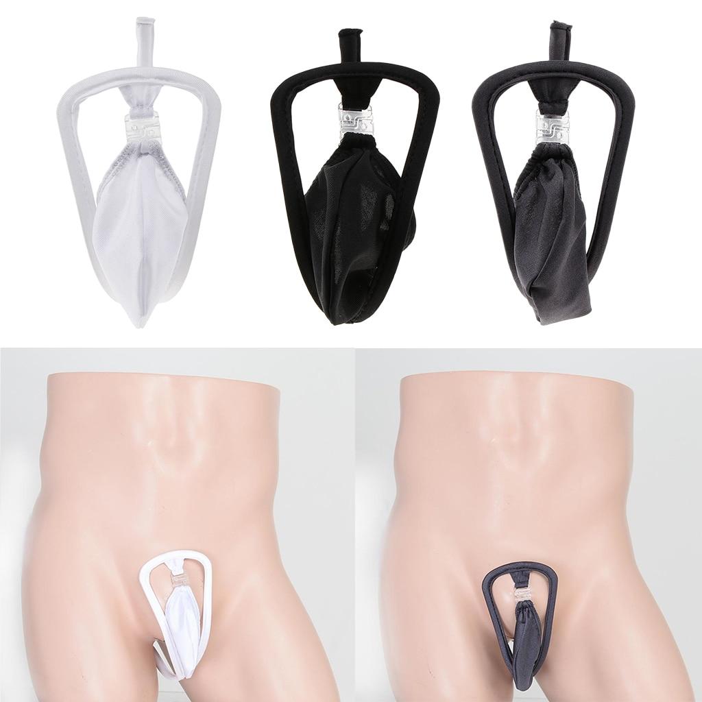 Pochette Invisible homme c-string string sous-vêtements culotte Lingerie érotique t-back solide Tangas Sexy gay confortable slips