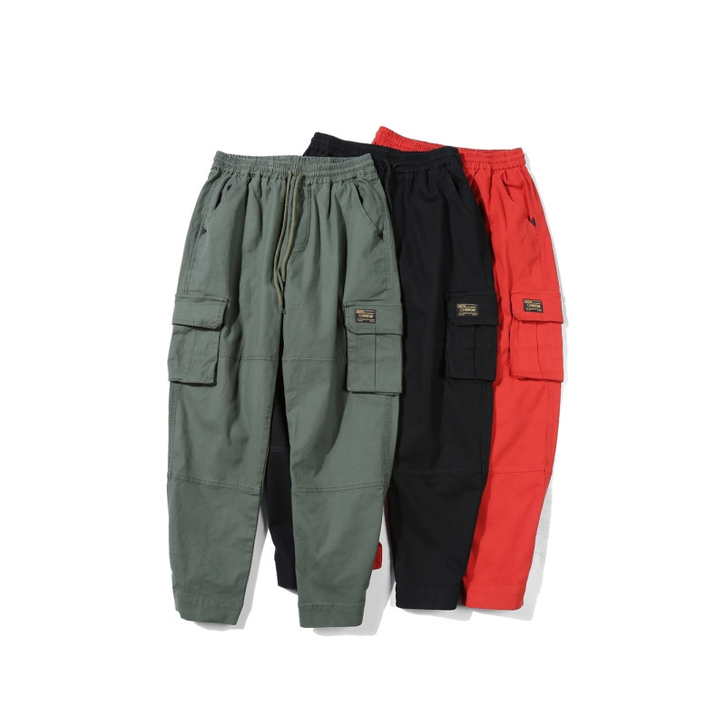 Luoye Luo Ye Japanese-style Origional Popular Brand Workwear Casual Pants Unisex Velcro Design Loose-Fit Trousers 1236
