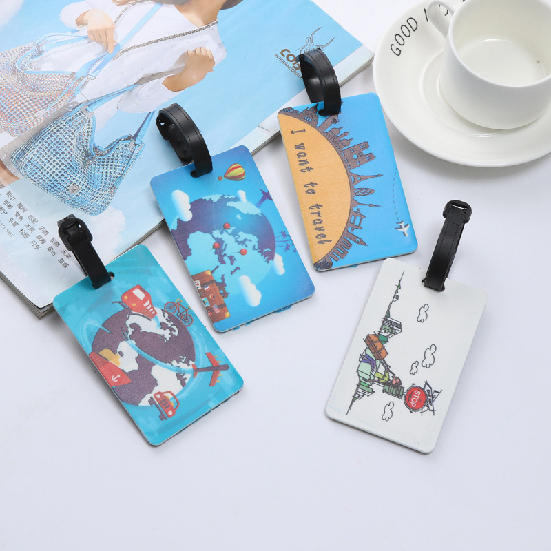 Fashion Travel Landscape PVC Luggage Tags Portable Suitcase ID Address Travel Accessories Holder Women Baggage Boarding Label