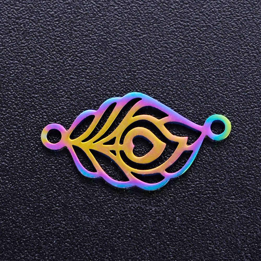 10 ชิ้น/ล็อต 100% สแตนเลสสายรุ้งสี Dream Catcher Feather ตัวเชื่อมต่อ Charms จี้สำหรับเครื่องประดับทำอุปกรณ์