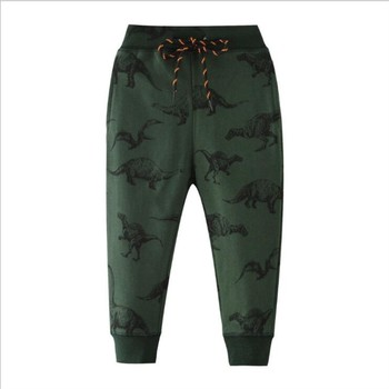 цена на Baby Kids Boys Girls Casual Trousers Children Long Pants Cotton Print Bottoms 2020 New Dinosaur Print Cartoon Pants for Boys
