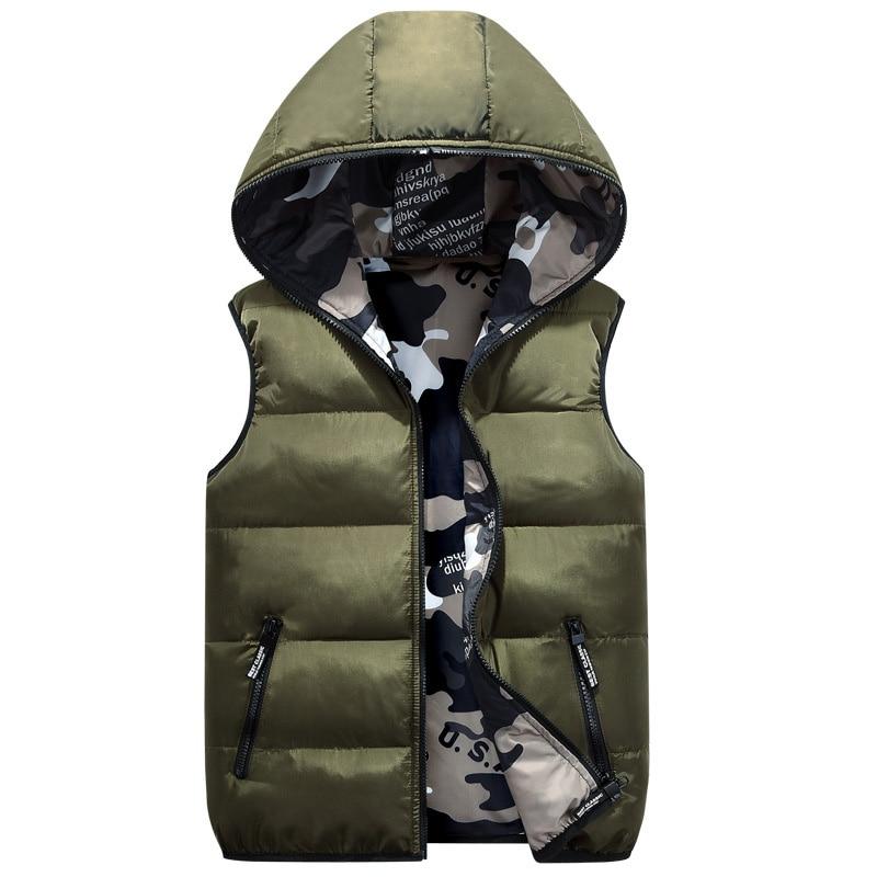Clearance SaleDIMUSI Hooded Vest Coats Clothing Mens Jacket Cotton-Padded Double-Wear Warm Winter Sleeveless