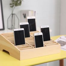 цена на 24 Grid Wooden Storage Box Organizer Mobile Phone Holder Stand Storage Box Phone Holder Display