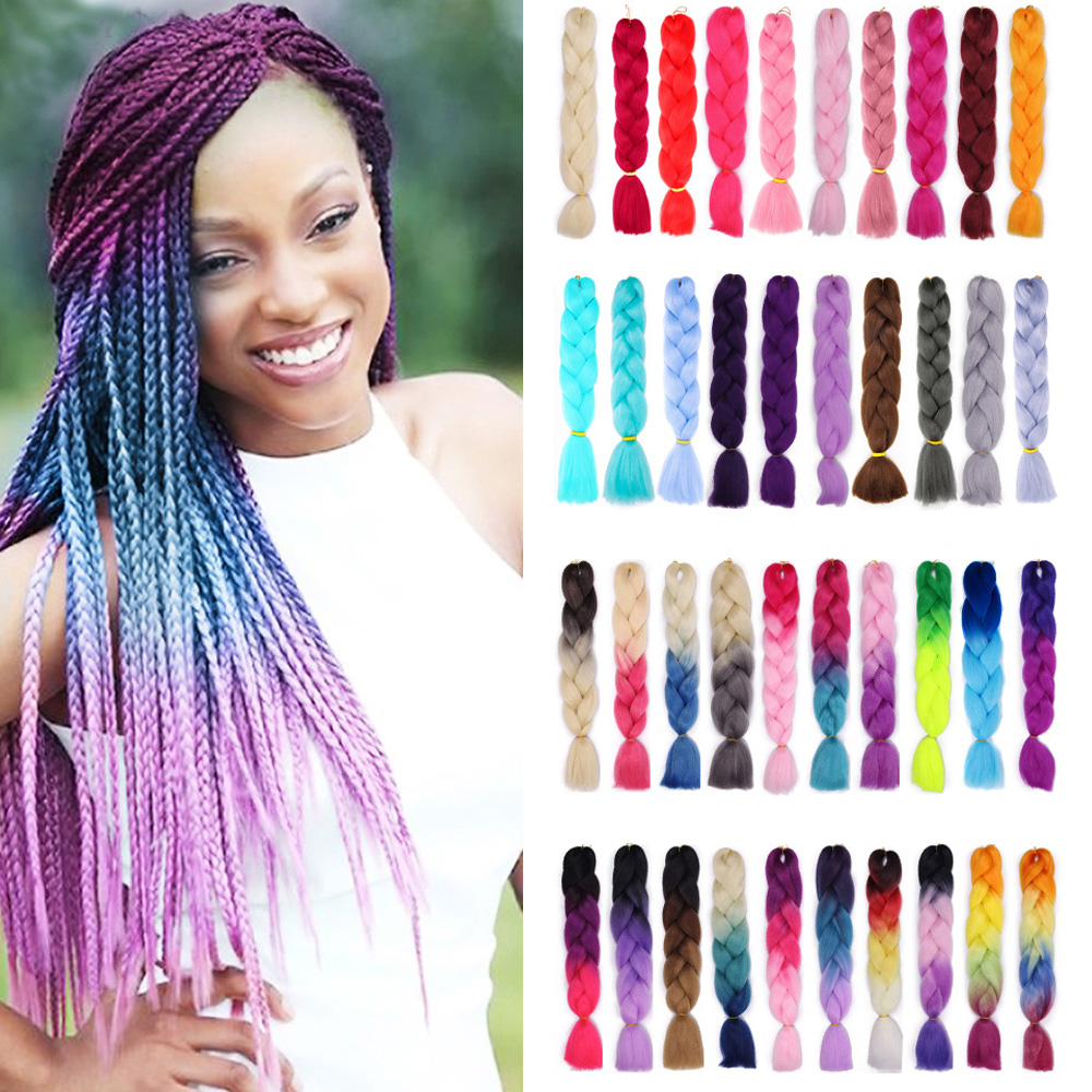 ONYX Long 24inch Jumbo Crochet Braids Hair Extensions Synthetic Braiding Hair Style 100g/Pc Pure /Ombre Color For Women