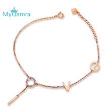 MYQAMRA Pure 18K Gold Bracelet Letter LOVE Chain Lucky Clover Adjustable Jewelry Gift Couple