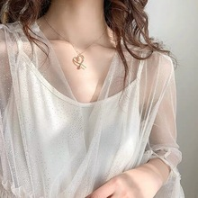 Music Festival Europe and the United States metal wind sexy sweet hollow heart-shaped peach heart short necklace women jewellery