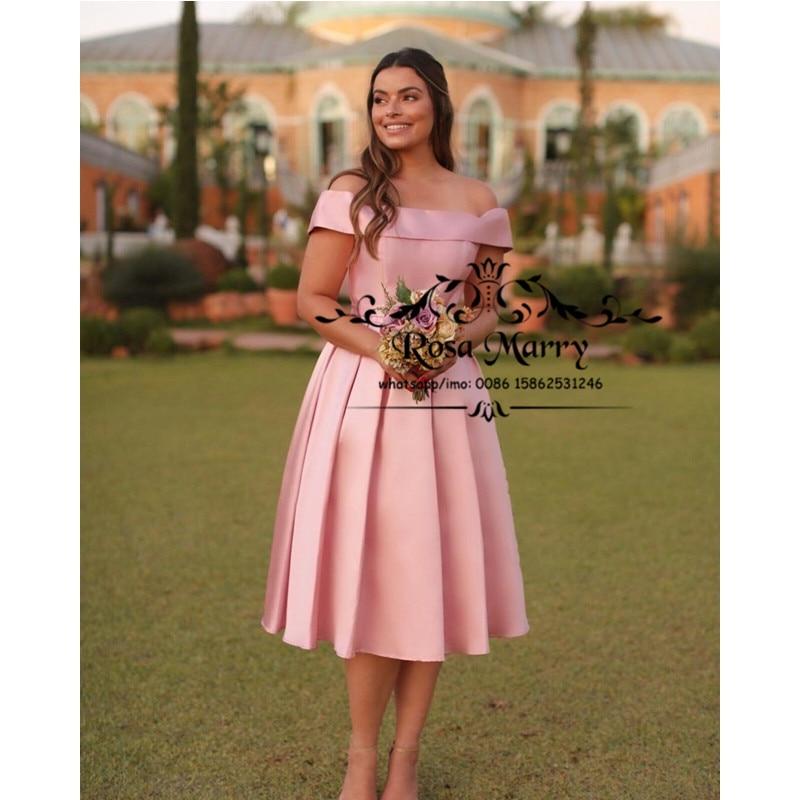 Pink Off Shoulder Short Cheap Bridesmaids Dresses 2021 A Line Knee Length Pleated Satin Vestido De Fiesta Wedding Guest Gowns