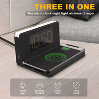 New multi-function alarm clock night light 10W wireless mobile phone charger Home Decor SY-W0241 black color