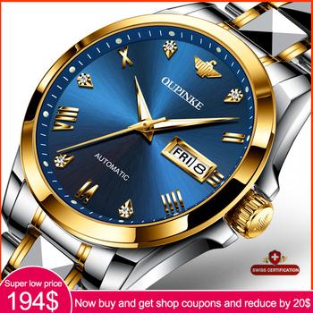 Męskie zegarki OUPINKE Top marka zegarki ze stali nierdzewnej mechaniczne w pełni zegarki automatyczne zegarki biznesowe mechaniczne zegarki tanie i dobre opinie 5Bar CN (pochodzenie) Klamerka z zapięciem BIZNESOWY Mechaniczna nakręcana wskazówka Samoczynny naciąg 20cm stal wolframowa