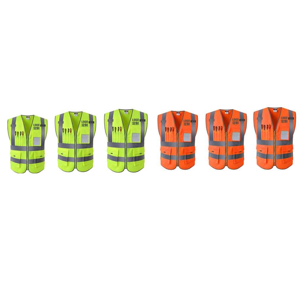 4 cepler sınıf 2 yüksek görünürlük fermuar ön güvenlik yelek yansıtıcı şeritler ile