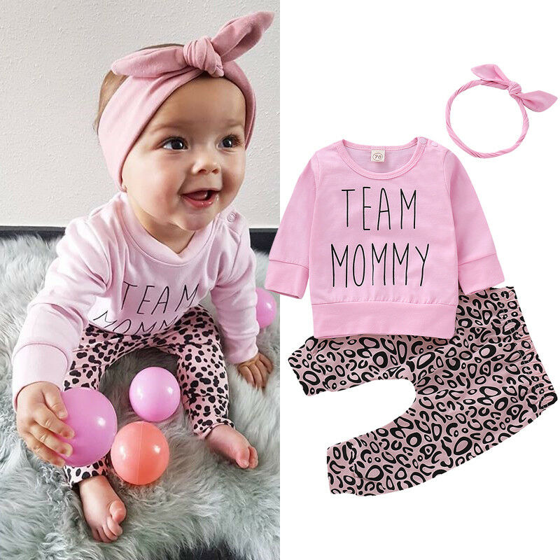 3PCS Baby Girls Outfits Long Sleeve T-shirt Tops + Leopard Pants + Headband Set Infant Toddler Baby Girl Casual Clothes 0-24M