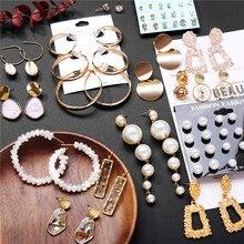 Pendientes de moda de pendientes de gota de oro para mujer pendientes geométricos acrílicos de concha redonda Brincos joyería ét