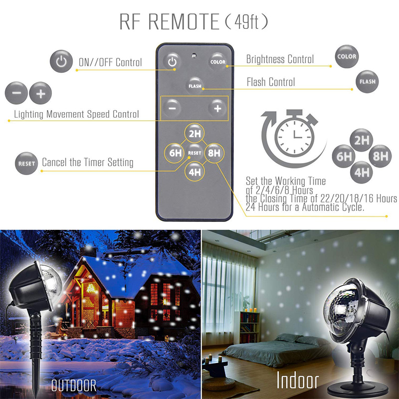 YINUO LIGHT New Mini Snowfall Projector Moving Snow Outdoor Garden Laser Projector Lamp Party Christmas Snowflake Laser Light in Stage Lighting Effect from Lights Lighting