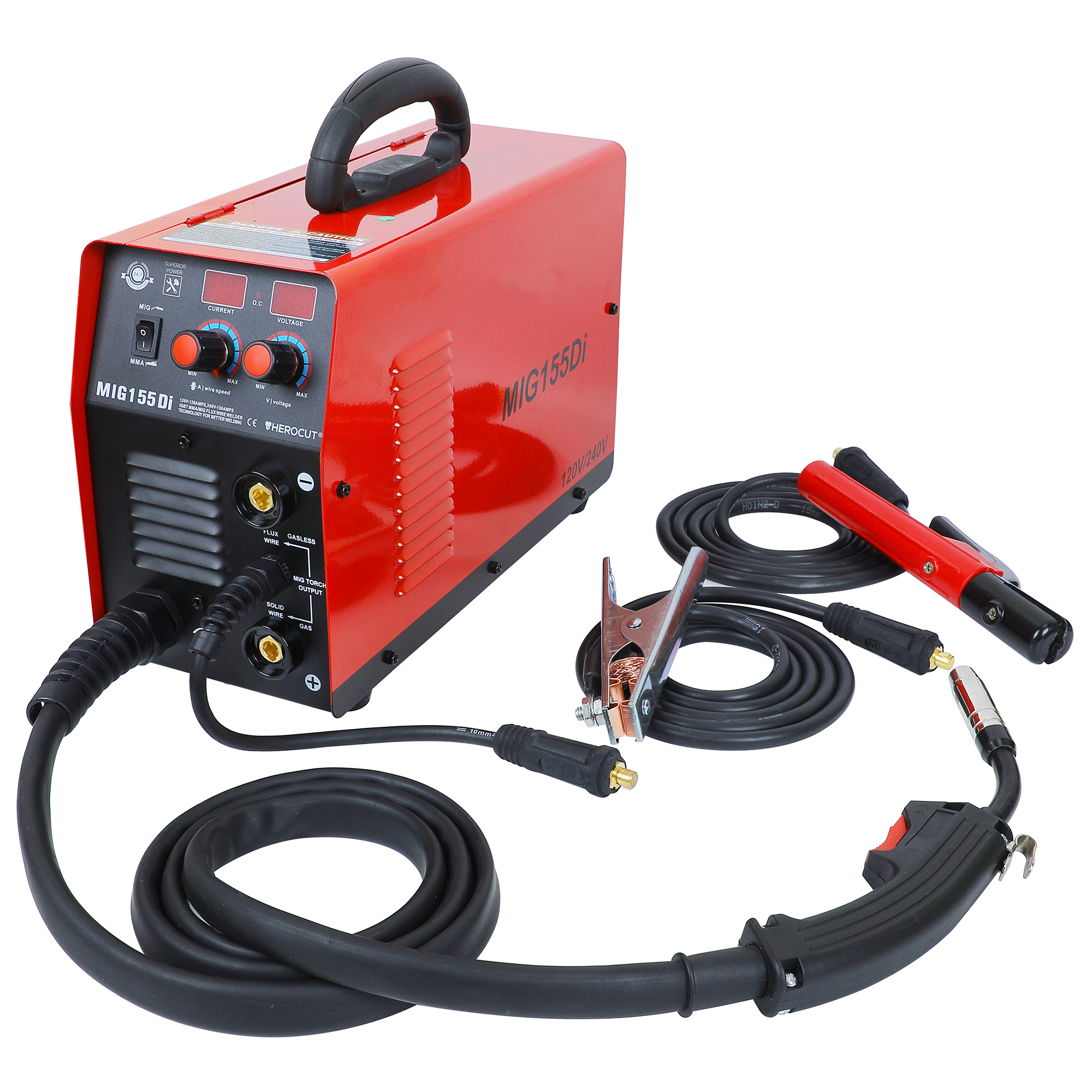 MIG155Di IGBT MMA/MIG/Flux Wire/Solid Wire Welding Machine Dual Voltage 110V/220V MIG Welding Portable Mig MMA Welder