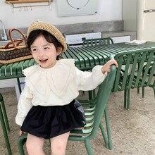 Primavera nova chegada estilo coreano algodão cor pura princesa all match bottoming camisa com gola grande para bonito doce bebê meninas