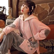 JULYS SONG ropa de dormir de franela para mujer, de 2 piezas Conjunto de pijama, pijama grueso y cálido, ropa de dormir cómoda de manga larga para el hogar