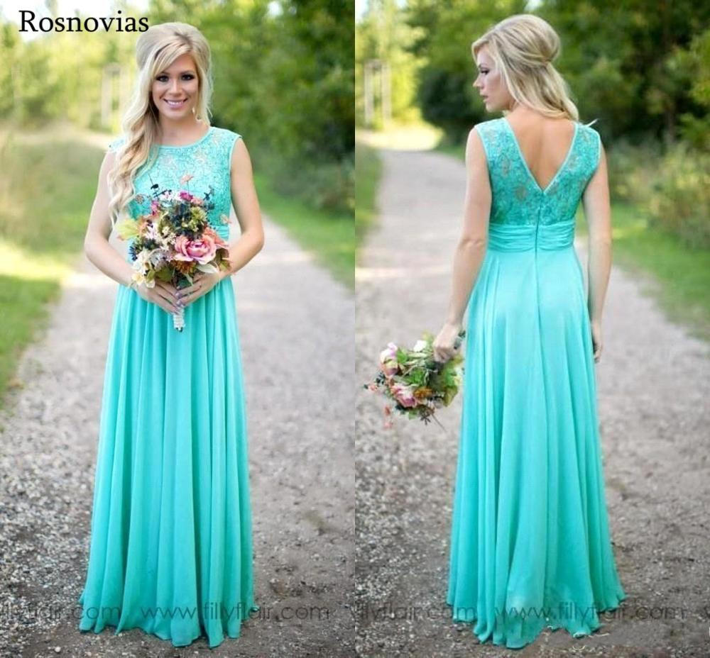 Turquoise Chiffon   Bridesmaid     Dresses   2019 A Line Jewel Backless Sweep Train Pleats Lace Top Wedding Guest Maid Of Honor Gowns
