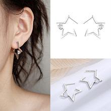 KISSLOVE-pendientes de estrella hueca pequeña para mujer, aretes de estrella de moda, de circonita pentagrama, pendientes broche minimalista, joyería Oorbellen