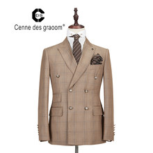 Cenne Des Graoom – Costume à carreaux Double boutonnage pour hommes, deux pièces Slim Fit de haute qualité, Costume de chanteur pour fête de mariage, nouvelle collection