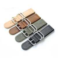 Onthelevel Zulu Strap 18mm 20mm 22mm 24mm Nato Strap Watch Band With Three Rings Black Brown Yellow Leather Watchband #D
