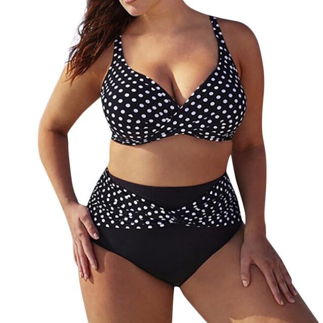 Polka Dot Plus Size Bikini Set