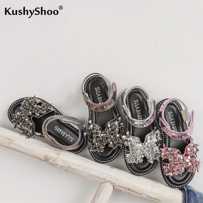 KushyShoo Girls Princess Shoes 2020 Summer New Fashion Children Rhinestone Shoes Hook&Loop Velcro Girls Sandals Kids