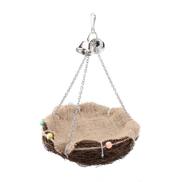 Parrot Hanging Rest Nest Basket Cage Birds Toy With Bell Bite Pet Cockatiel Parakeet Funny Stand Rest Perch Swing 5 2