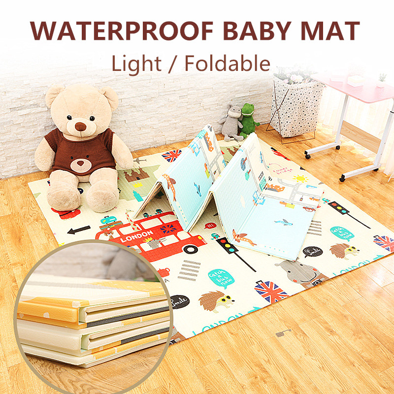 Light Foldable Waterproof Portable Multifunction Floor Toddler Infants Carpet Reversible Baby Play Mat Double-Sided Crawling Mat