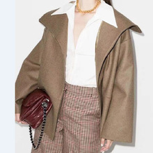Wool Coat Lapel Autumn Winter Fashion Women's And Solid All-Match