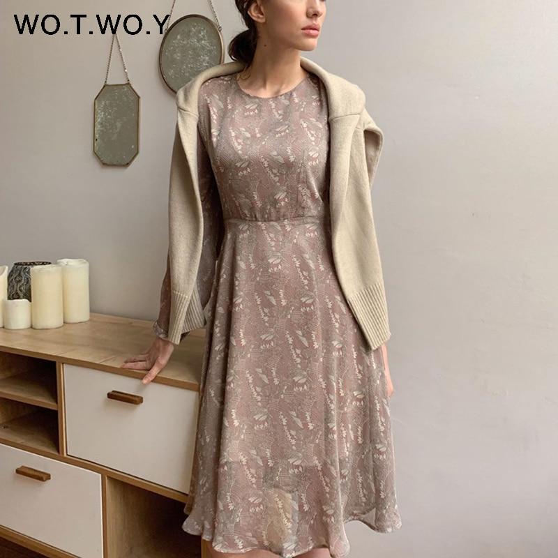 WOTWOY Vintage Floral Print Long Dresses Women 2020 Autumn Classic Mid-Calf Dress Woman Button O-Ncck A-Line Dress Lady Bing New