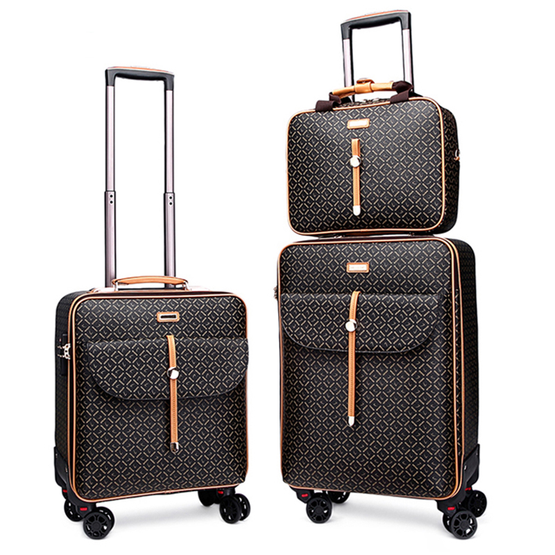 Luxury Travel Suitcase set Rolling Spinner Luggage Women Trolley case Wheels Man boarding box carry on Travel Bag laptop handbag(China)
