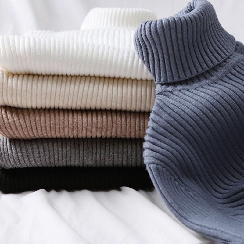 2020 Autumn Winter Women Knitted Turtleneck Sweater Casual Soft Polo-neck Jumper Fashion Slim Femme Elasticity Pullovers Tops