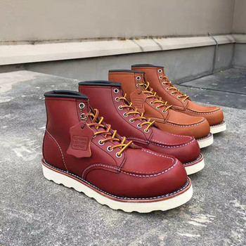 Goodyear-Welted Vintage Handmade Cow Leather Ankle Motorcycle Boots Top Quality Wings Round Toe Men Shoes Casual Work Red