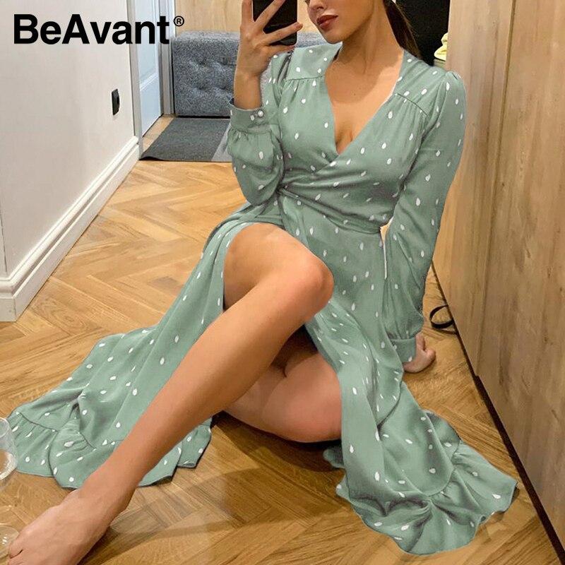 Beavent Polka dot elegant women dress Long sleeve vintage green party dress V-neck sash streetwear wrap 2020 vestido work wear