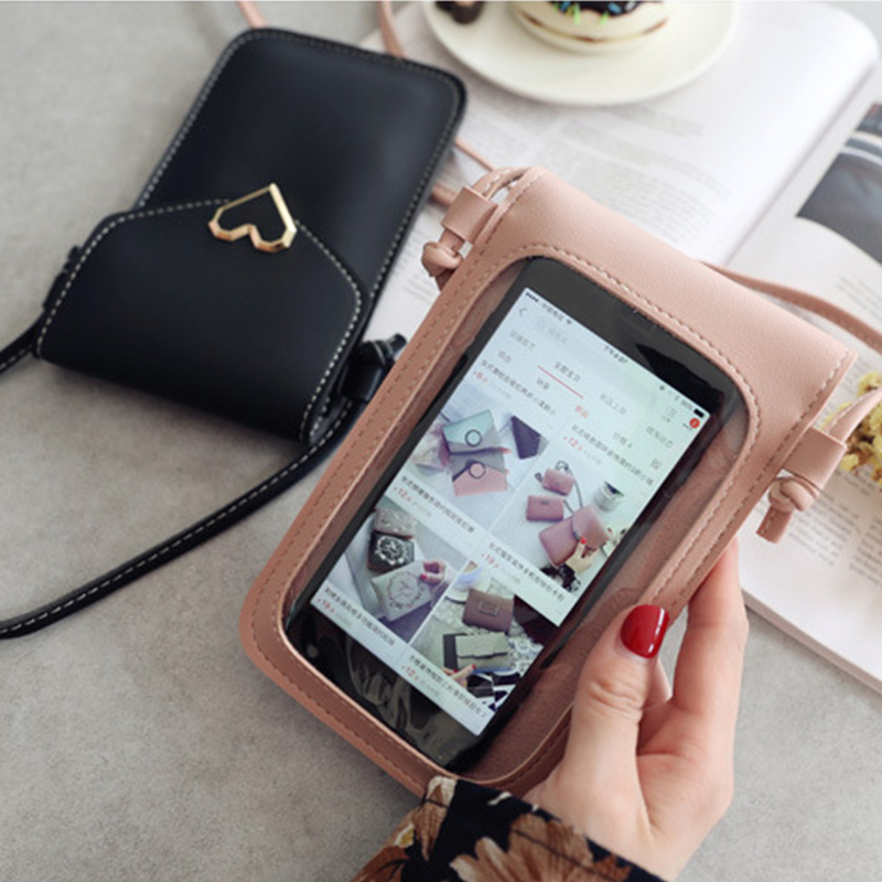 Touch Screen Cell Phone Purse <font><b>Smartphone</b></font> Wallet Leather Shoulder Strap Handbag Women Bag for Iphone 11 Samsung S10 <font><b>Huawei</b></font> <font><b>P20</b></font> image