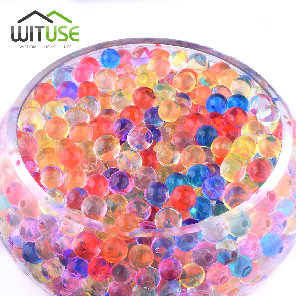 1000pcs/bag 13mm Crystal Soil Hydrogel Gel Polymer Water Beads Flower Home Decoration polymer Mud Growing Water Balls Jelly Ball