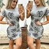 Women 2020 Summer Eleagnt Mini Gray Dress Palm Leaves Leaf Print  Slim Bodycon Beach Holiday Short Sleeve Pencil Dress For Woman 2