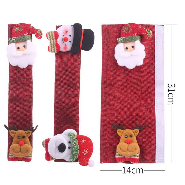 New 4Pcs/Set Fridge Handle Covers Christmas Microwave Oven Dishwasher Door Handle Cover 14*31cm Christmas Decorations For Home
