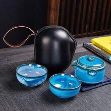 Alta qualidade conjunto de chá cerâmica incluem 1 pote 2 xícaras chá pote portátil viagem chaleira escritório chá conjuntos drinkware